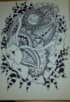Henna Drawing - Mask Filled Sky by spirit0407