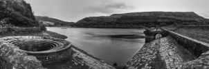 ladybower-reservoir mono pano by CharmingPhotography