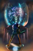 Samus vs. Mother Brain by Phobos-Romulus