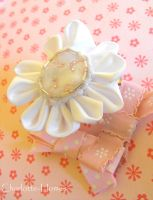 White and Pink Bow Kanzashi by Charlotte-Holmes