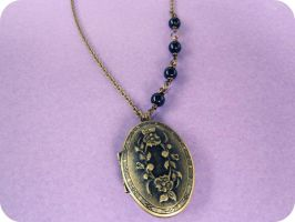Antique Antoinette Brass Locket Necklace by xcup-cakex