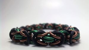 Green and Copper Forest Elf Bracelet by ofmyhats