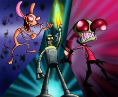 Ren, Bender and Zim by Spaffi