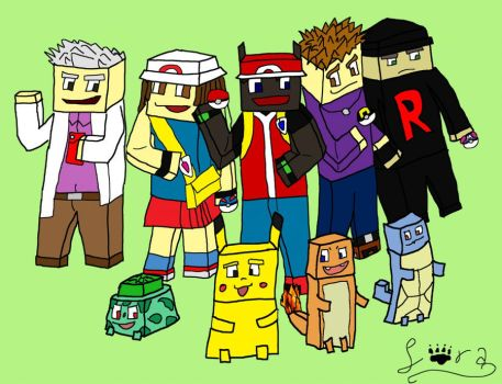 Pokecraft Picture (Rough Draft) by Sorablue94