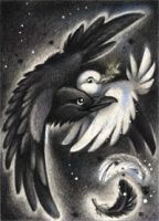 The raven and the dove ACEO by kiriOkami