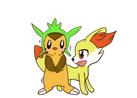 Chespin and fennekin~ by miischaa