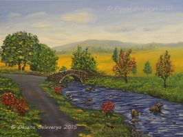 Autumn River - oil on canvas by Oksana007