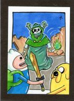 Jake and Finn Take on the Lich! sketch card by johnnyism