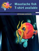 moustache fish tee by sushy00
