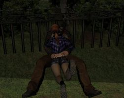 Leon and Claire in the park by xXLife-Starts-NowXx