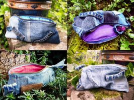 Back to School - Jeans Denim Patchwork Pouches by ajnataya