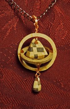 Wood Rings Chess Diamond with Chess Drop Pendant by Fandragon