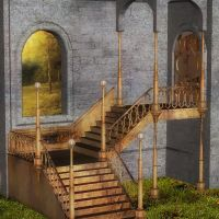 Backyard Stairs by oldhippieart