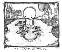 my foot is asleep by boobookittyfuck
