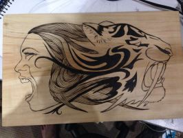 Wood Burn Design 1/2 complete by DC-Pyrography