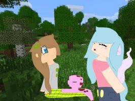 Minecraft day with 2 true friends by MlpOclover