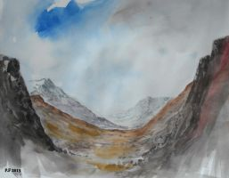 Mountain pass watercolor by Boias