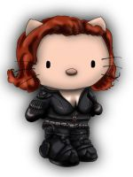 Avengers / Hello kitty deviation- BLACK WIDOW by Crow-Dreamer