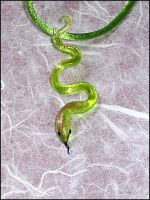 Green and golden Snake Pendant by Glasmagie
