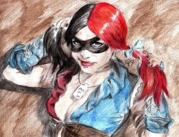 Harley Quinn. Watercolor pencils by MaXymuSFM