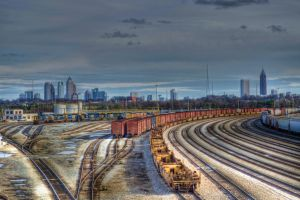 train yard with Atlanta background by artbylink