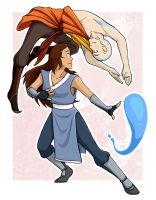 Aang and Katara -- Bending by AliWildgoose