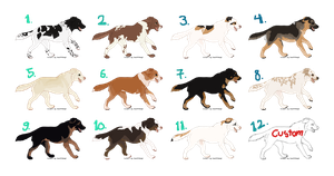Dog adoptables and 1 custom :TAKEN: by Kultapossu