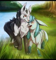 Mighteyena and Glaceon by Tartii
