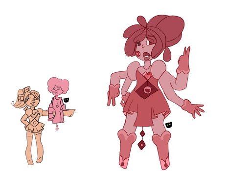 Morganite and Rhodonite fusion:Thulite by lizzyaster