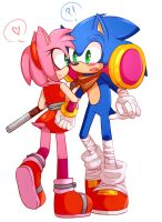 Commission: Amy and Sonic ''Sonamy Boom!'' by Moon-Klein
