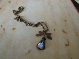 Enchanted Dragonfly Necklace Dual Crystal choose by artistiquejewelry