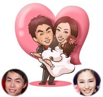 cartoon portrait for friend's wedding by catzhao1225