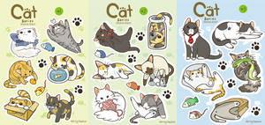 Cat Sticker Sheets by Pawlove-Arts