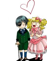 Chibi Ciel and Lizzie by meatballbomber