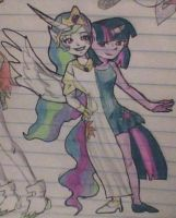 Twilight Sparkle and Celestia anthro forms by skatergirl747