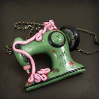 Zombie Sewing Machine Necklace by beatblack