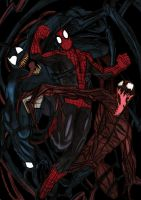 Spiderman vs Carnage and Venom - Colour by ChocolateBiscuits