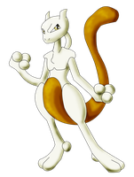 Golden Mewtwo by AncientKyuubi