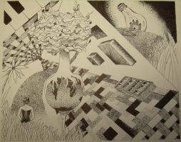 Surrealism Pen and Ink by mexcanfool