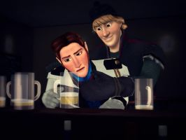 Hans and Kristoff - At the bar by Simmeh