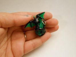 Custom Malachite Dragon Pendant by Micrackin