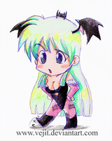 Chibi Morrigan color sketch by Vejit