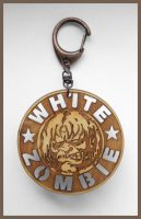 WHITE ZOMBIE - wood keyring by Piciuu