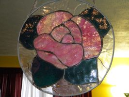 Stained Glass Rose I made for my Grandparents by someofmywork