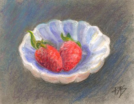 Strawberries in Candy Dish by robertsloan2