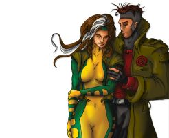 Rogue and Gambit by gavacho13