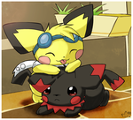 Pikachan and Sparks by pichu90