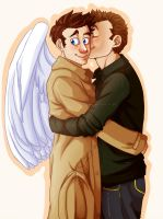 spn: Destiel Hug by kirapop