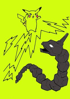 Pikachu Fights Onix With Electric Power by jessyho862010