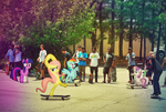 Fluttershy, Twily, And Sweetie Belle Skateboarding by rainbowdash5846